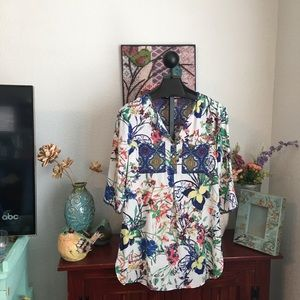 Anthropologie Fig and Flower Tunic Size Large